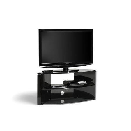 Techlink Bench Corner B3B Black AV Stand two glass shelves cable management 1084mm wide suitable for screens up to 55""