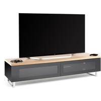 Techlink Panorama PM160LO Light Oak Top with Black Carcass Low Cabinet with IR Friendly Drop Down Doors ventilated cable management 1600mm wide suitable for screens up to 80