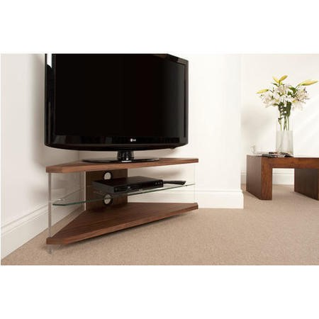 AIR CORNER Slim light weight appearance open-fronted AV furniture - Walnut Veneer with Clear Glass