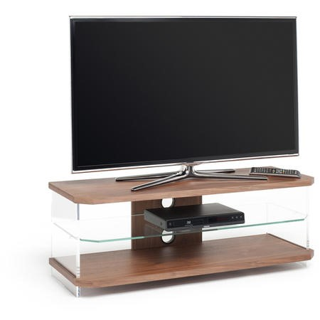 AIR Slim light weight appearance open-fronted AV furniture - Walnut Veneer with Clear Glass