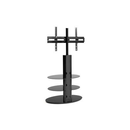 "Techlink Strata ST90E3 Gloss Black Pedestal TV Stand with Two Black Glass Shelves cable management 900mm wide suitable for screens up to 50"" with a max weight of 40kg.  VESA 200 to 400x600"