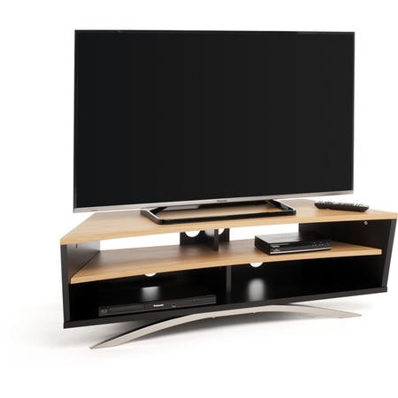 Techlink Prisma PR130SBLO Satin Black Base and Side with a Light Oak Top and Shelf cable management 1300mm wide suitable for screens up to 65""