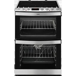 AEG 43102V-MN 60cm Electric Double Oven Cooker With Ceramic Hob Stainless Steel