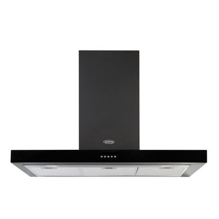 Belling Cookcentre 90 Chim 90cm Flat Chimney Cooker Hood - Black