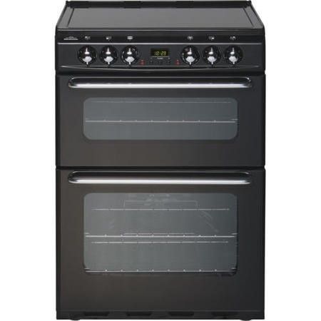 New World EC600DOm 60cm Double Oven Electric Cooker - Black