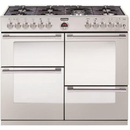 Stoves Sterling R1000DFT 100cm Dual Fuel Range Cooker - Stainless Steel