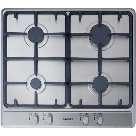 Stoves SGH600C 60cm Four Burner Gas Hob With Cast Iron Pan Stands - Stainless  Steel
