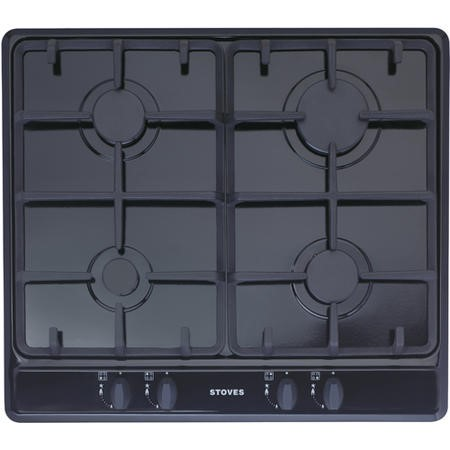 Stoves SGH600C 60cm Four Burner Gas Hob With Cast Iron Pan Stands - Black