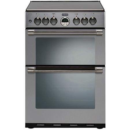 Stoves Sterling 600DF 60cm Double Oven Dual Fuel Mini Range Cooker - Stainless Steel