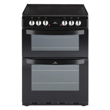 New World NW601EDO 60cm Wide Double Oven Electric Cooker In Black