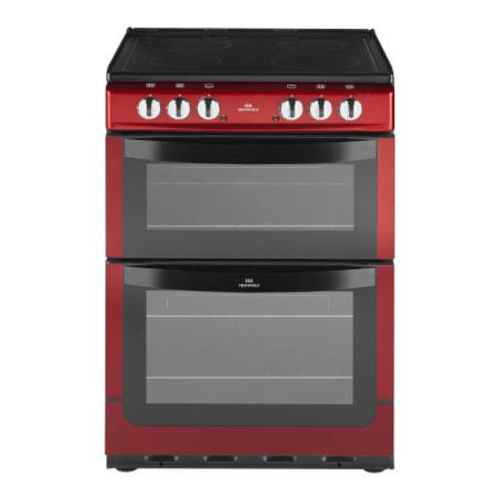 New World NW601EDO 60cm Double Oven Electric Cooker with Ceramic Hob  - Metallic Red