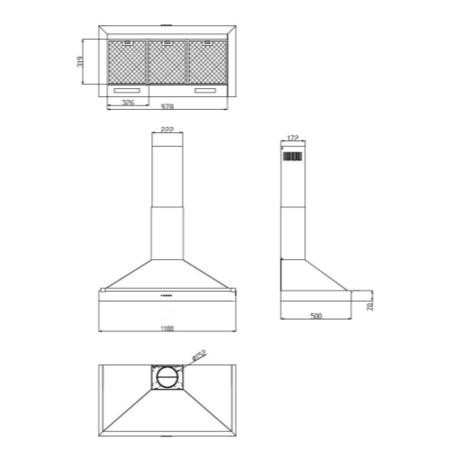 Belling CLASSIC 110CHIM 110cm Wide Chimney Cooker Hood Hot Jalapeno