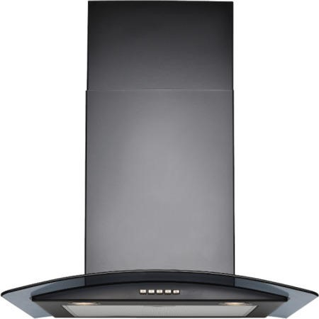 GRADE A2 - Stoves 600CGH mk2 Black Chimney Cooker Hood With Curved Glass Canopy