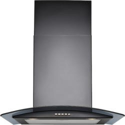 Stoves 600CGH mk2 Black Chimney Cooker Hood With Curved Glass Canopy