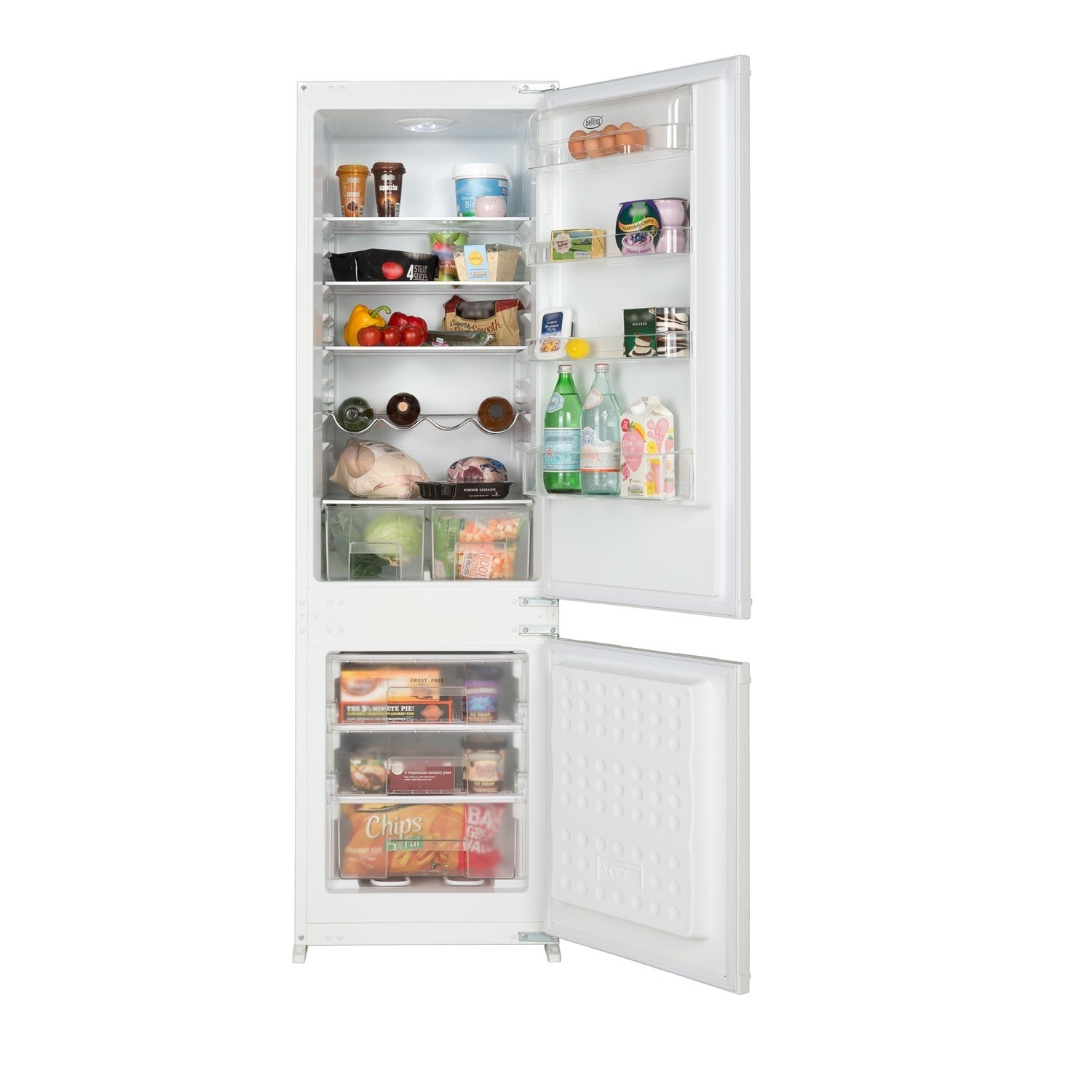 belling b7030ff 54cm wide frost free integrated upright fridge freezer white