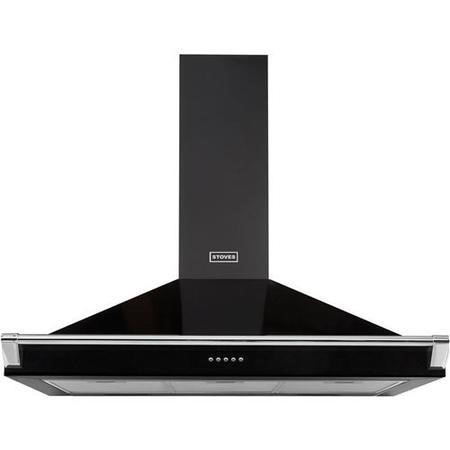 Stoves 444443558 S900 Richmond MK2 90cm Chimney Cooker Hood With Rail Black