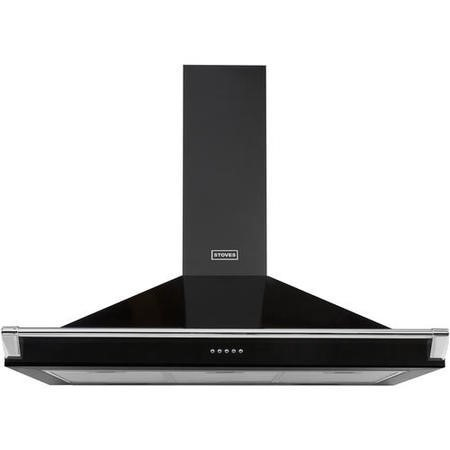 Stoves 444443559 S1000 Richmond MK2 100cm Chimney Cooker Hood With Rail Black