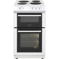 Belling FS50ET Double Cavity Electric Cooker With Solid Plate Hob White Best Price, Cheapest Prices
