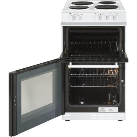 Belling FS50ET 50cm Double Cavity Electric Cooker With Sealed Plate Hob - White