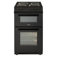 Belling FS50ET 50cm Double Cavity Electric Cooker With Sealed Plate Hob - Black