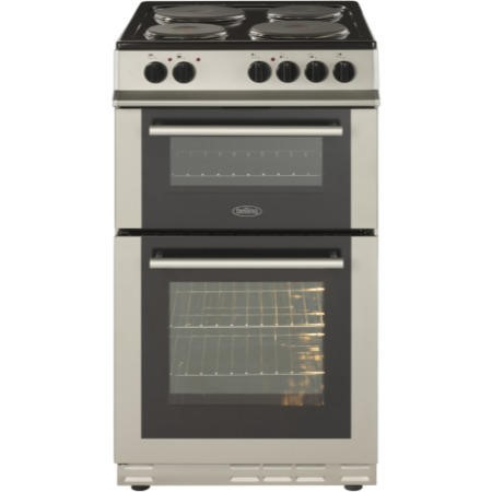 Belling FS50ET 50cm Double Cavity Electric Cooker With Sealed Plate Hob - Silver