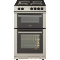 Belling FS50ET Double Cavity Electric Cooker With Solid Plate Hob Silver Best Price, Cheapest Prices