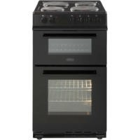 Belling FS50EFDO Double Oven Electric Cooker With Solid Plate Hob Black Best Price, Cheapest Prices