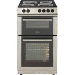 Belling FS50EFDO Double Oven Electric Cooker With Solid Plate Hob Silver
