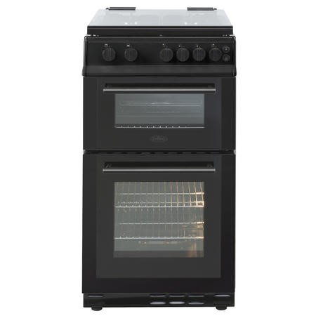 Belling FSG50GDOL 50cm Double Oven Gas Cooker With Lid - Black