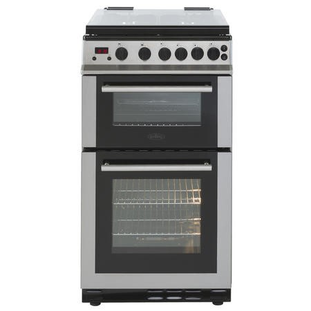 Belling FS50GDOLM 50cm Double Oven Gas Cooker With Lid - Stainless Steel