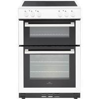 New World 444444026 60cm Wide Electric Double Oven Cooker With Ceramic Hob White