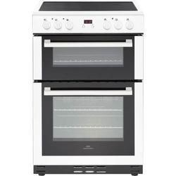 New World 444444027 60cm Wide Electric Double Oven Cooker With Ceramic Hob And Minute Minder White