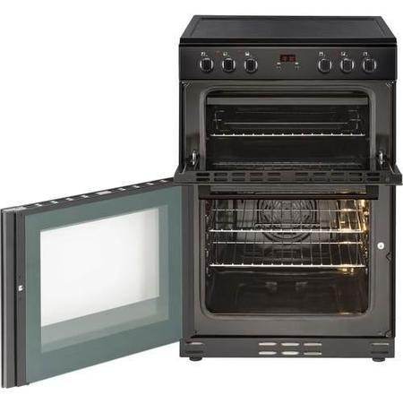 New World 444444028 60cm Wide Electric Double Oven Cooker With Ceramic Hob And Minute Minder Black