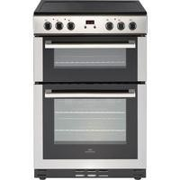 New World 444444029 60cm Wide Electric Double Oven Cooker With Ceramic Hob And Minute Minder Stainle