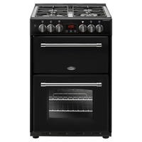 Belling Farmhouse 60DF 60cm Double Oven Dual Fuel Cooker With Cast Iron Pan Stands - Black