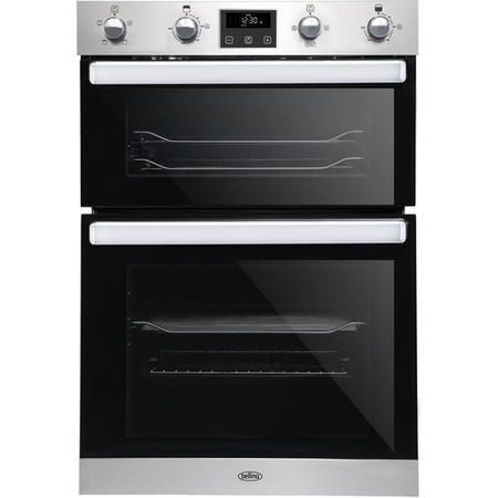 GRADE A1 - Belling 444444785 BI902FP Electric Built In Double Oven With Programmable Timer - Stainless Steel
