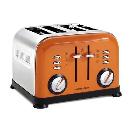 morphy richards 44798 accents orange 4 slice toaster appliances direct. Black Bedroom Furniture Sets. Home Design Ideas