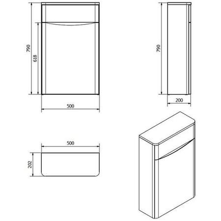 White Back to Wall WC Toilet Unit - Without Toilet - W500 x D200mm