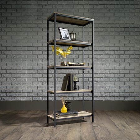 Oak Industrial Style Bookcase with 4 Shelves & Black Metal Frame