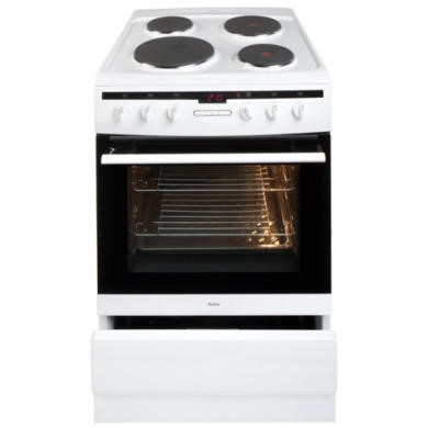 Amica 608EE2TAW 60cm Single Oven Electric Cooker with Solid Hot Plate - White