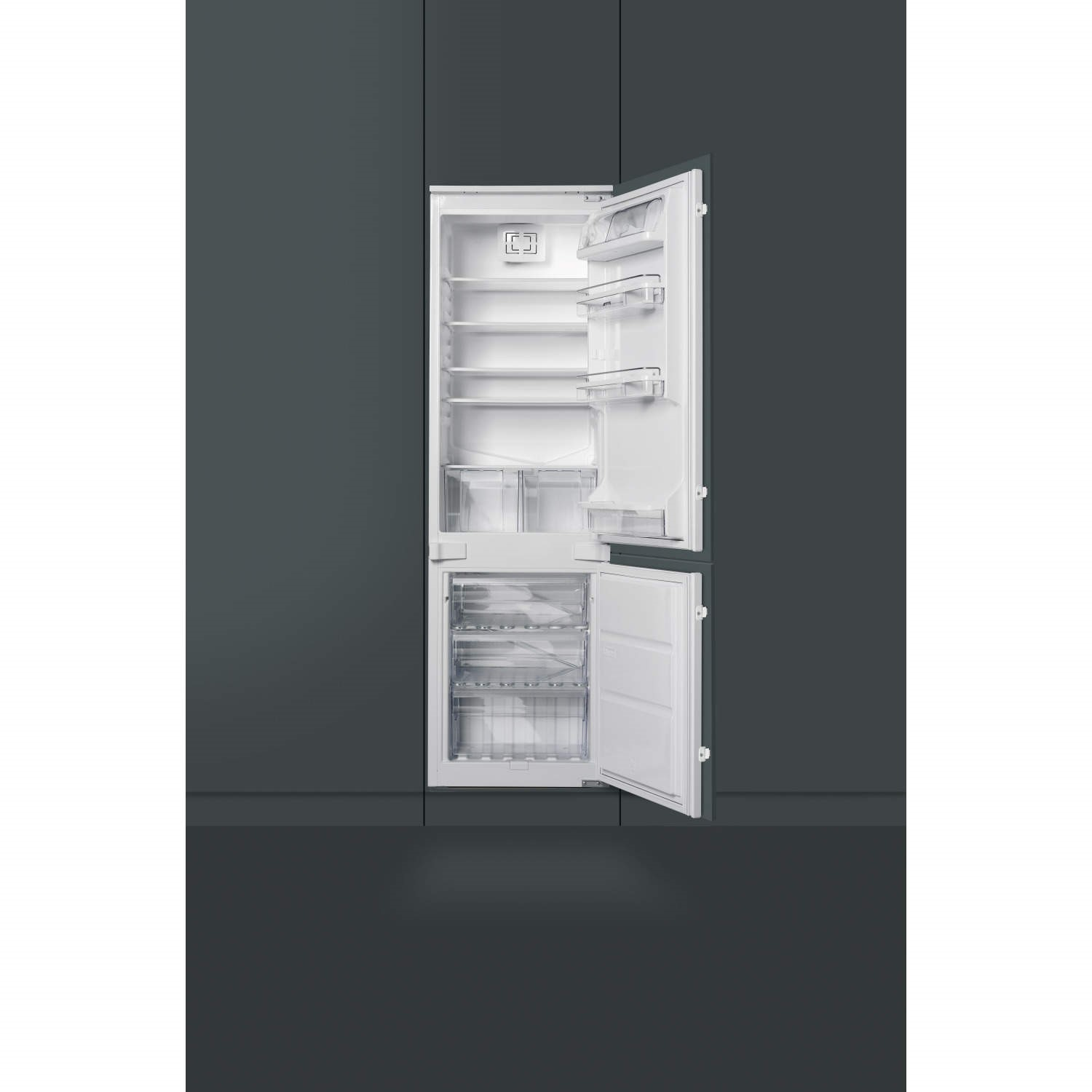 smeg ukc7280fp 54cm wide integrated upright incolumn fridge freezer white