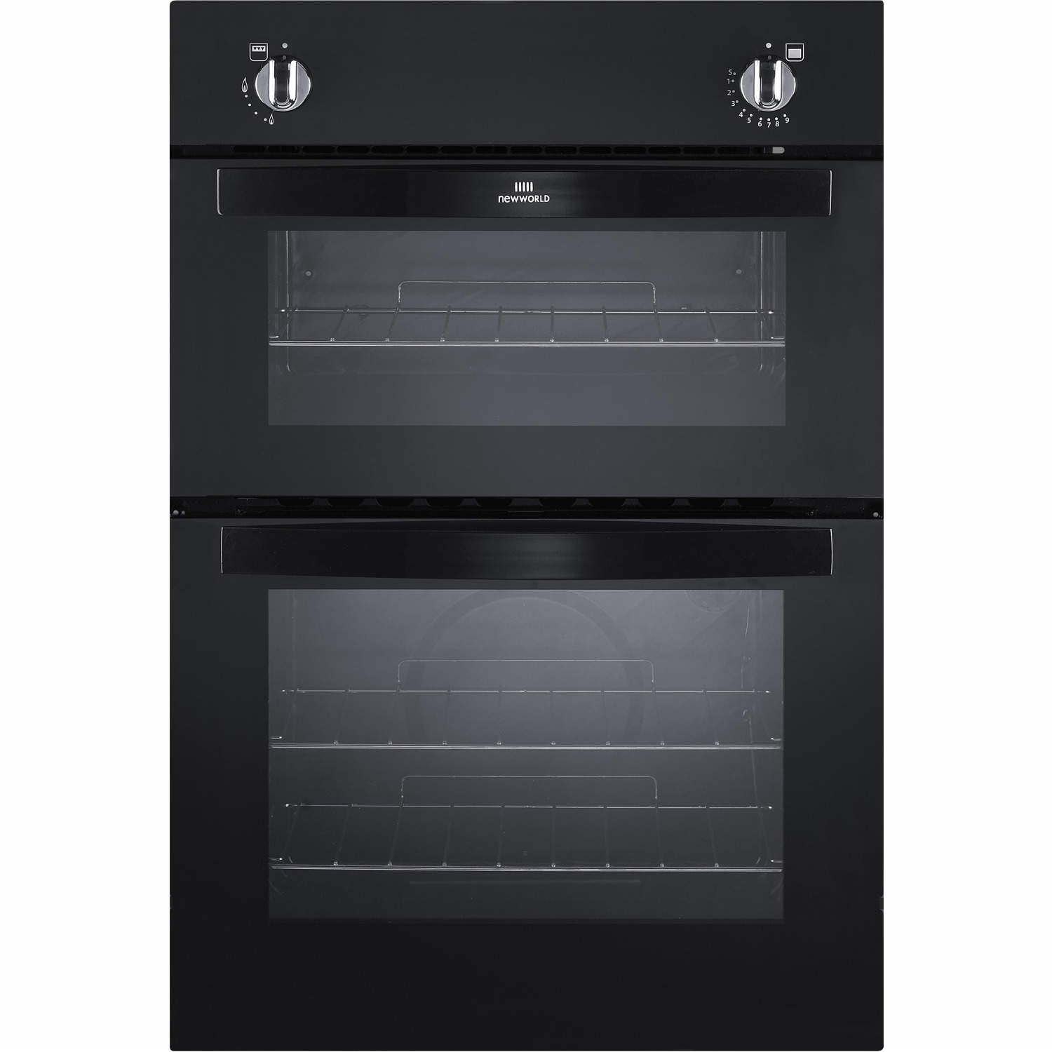 Built In Gas Ovens Part - 38: New World NW901G Gas Built In Twin Cavity Oven Black