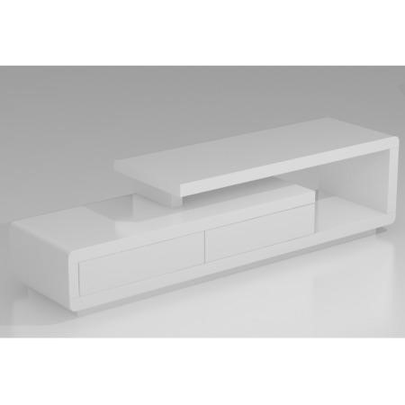 Evoque Geometric TV Unit in White High Gloss with Touch Open Drawers