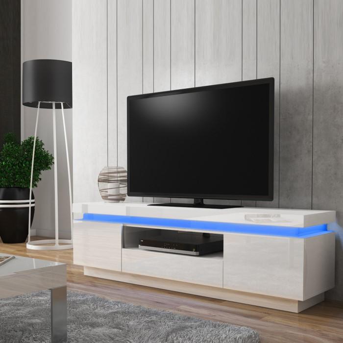 Evoque Led Light Effects White High Gloss Tv Unit Evq002