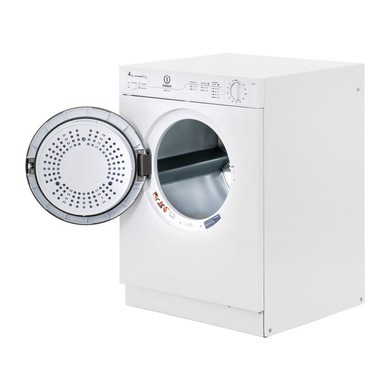 Indesit Is41v 4kg Compact Front Vented Tumble Dryer Polar White Appliances Direct