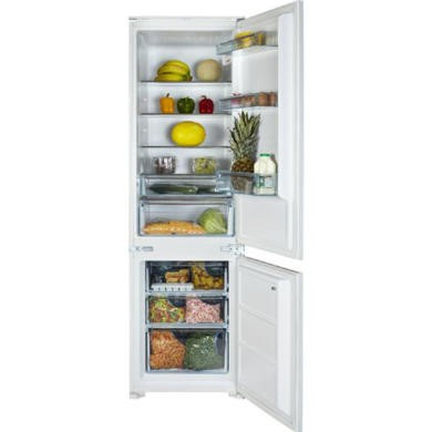 White Knight FF250IHE 54cm Wide 70-30 Integrated Upright Fridge Freezer - White