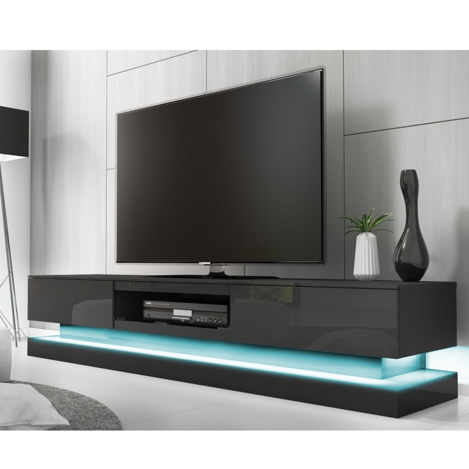 pretty nice de3b9 6b672 Evoque Large Grey High Gloss TV Unit with LED Lighting - TV's up to 56