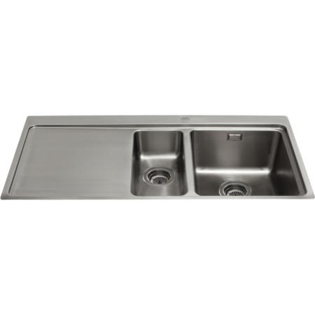 GRADE A3 - CDA KVF22LSS Designer One And A Half Bowl Sink Flush Fit - Left Hand Drainer