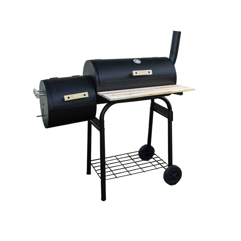 Black Barrel Charcoal Smoker BBQ IQBQCSMOKER - Includes BBQ Cover and  Utensil Set