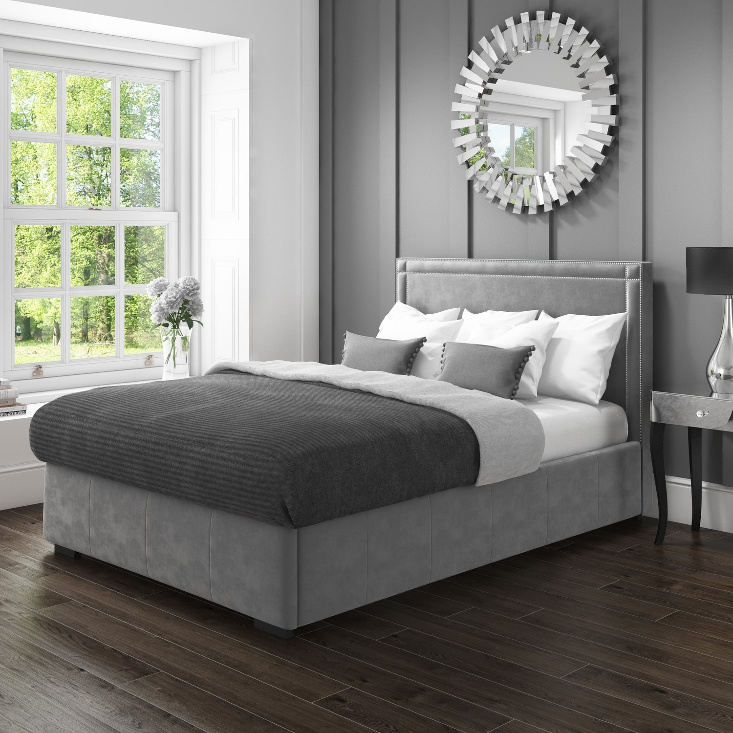 Fabulous Details About Modern Safina King Size Ottoman Bed With Double Stud Detailing In Grey Velvet Gmtry Best Dining Table And Chair Ideas Images Gmtryco